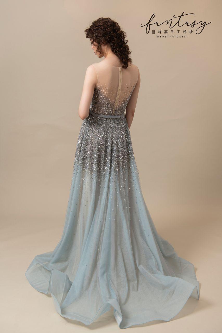 閃亮浪漫湖水藍晚禮服