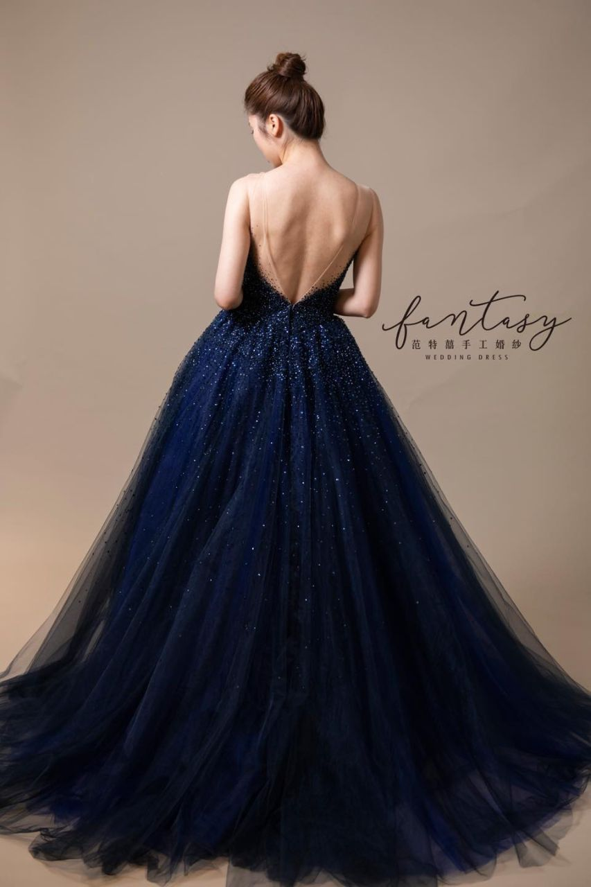 星空性感藍色晚禮服