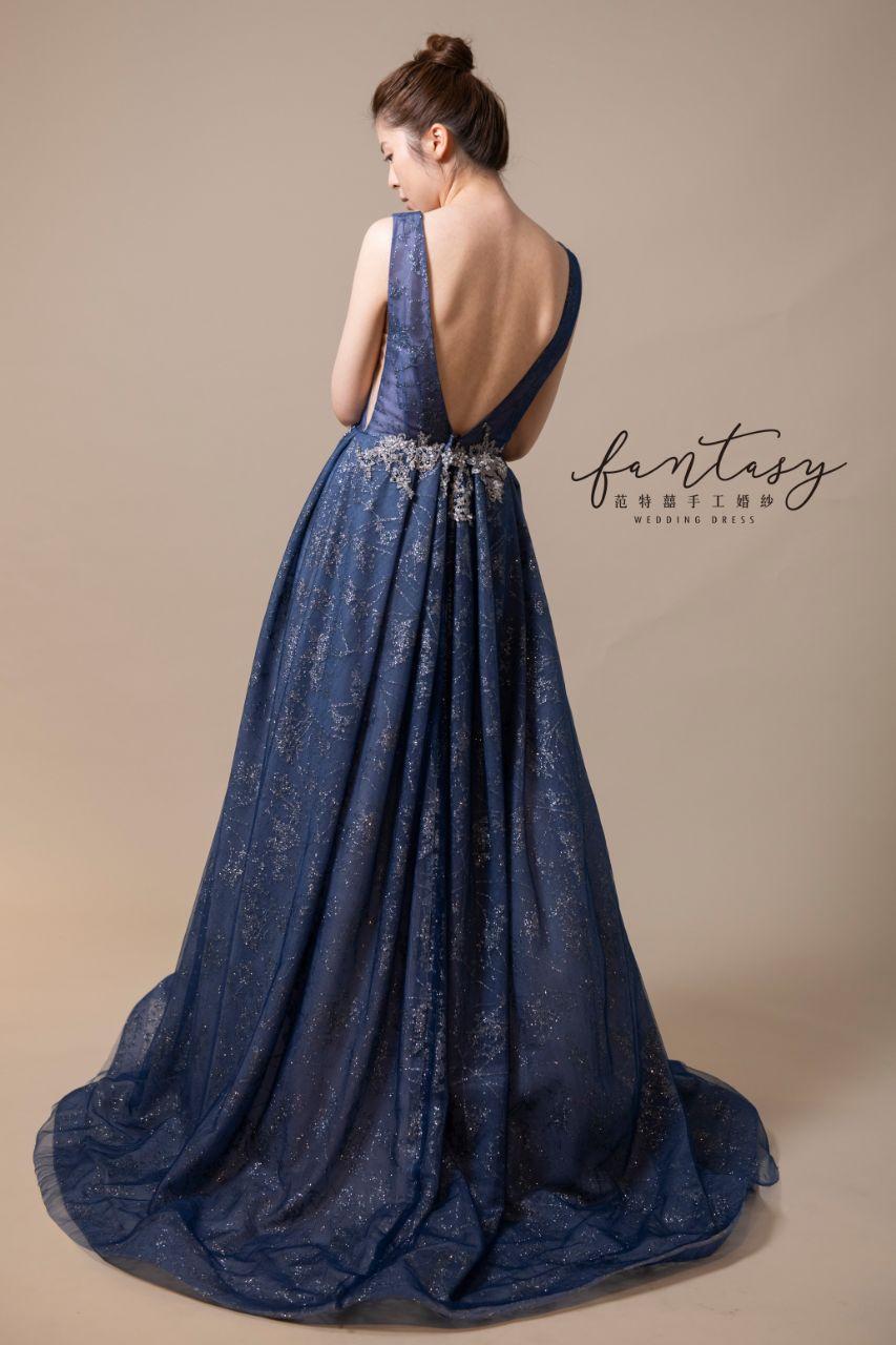 性感設計師款藍色晚禮服