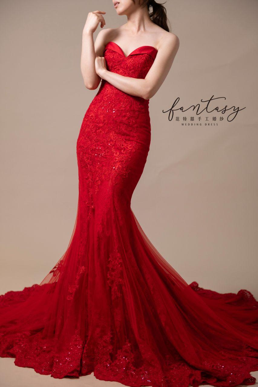 桃心領魚尾紅色晚禮服