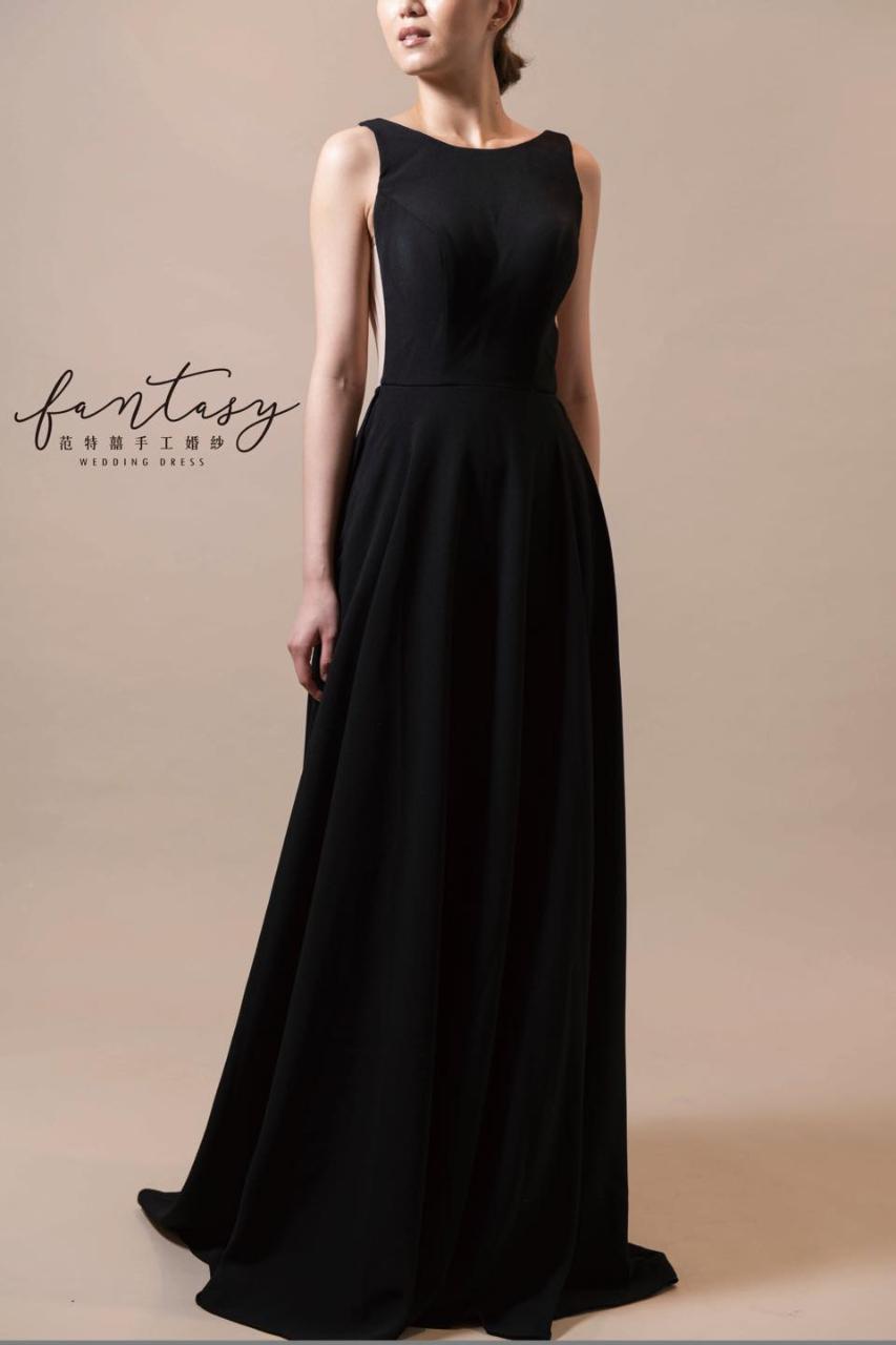 緞面時尚黑色晚禮服